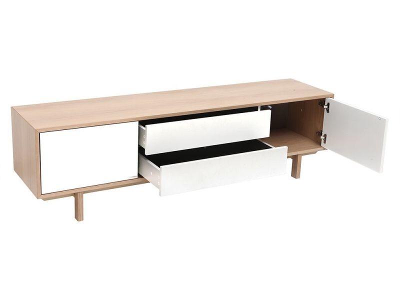 meuble tv scandinave bois et blanc 180cm sid vente de. Black Bedroom Furniture Sets. Home Design Ideas