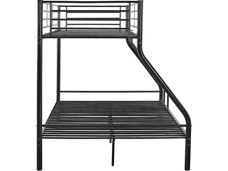 lit superpose leo metal noir vente de habitat et jardin conforama. Black Bedroom Furniture Sets. Home Design Ideas