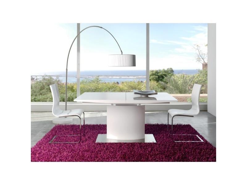 Table à manger rectangulaire extensible 160-200cm en bois blanc laqué aquila - l 160 x l 90 x h 76