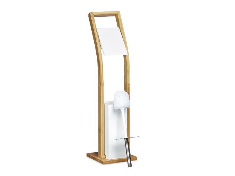 ensemble porte brosse wc et distributeur papier toilettes bambou design 75 cm helloshop26. Black Bedroom Furniture Sets. Home Design Ideas