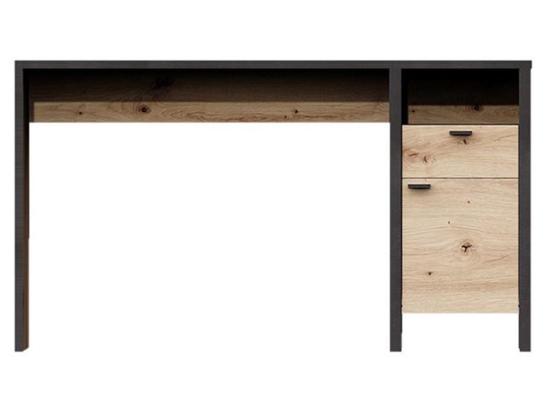 Bureau en bois coloris artisan chêne/acier foncé - l.135 x h.75,5 p.60 cm -pegane-