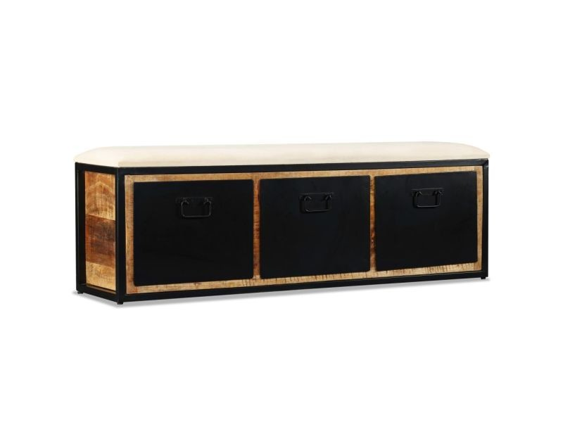 Banquette pouf tabouret meuble banc de rangement avec 3 tiroirs bois de manguier 120 cm helloshop26 3002036