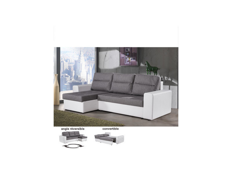 Canapé d'angle réversible convertible gris et blanc stecy