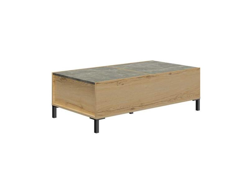 Table basse avec plateau coulissant bois/béton - granj - l 110 x l 60 x h 37 - neuf