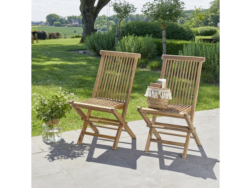 Chaise de jardin pliante en teck huilé (lot de 2)