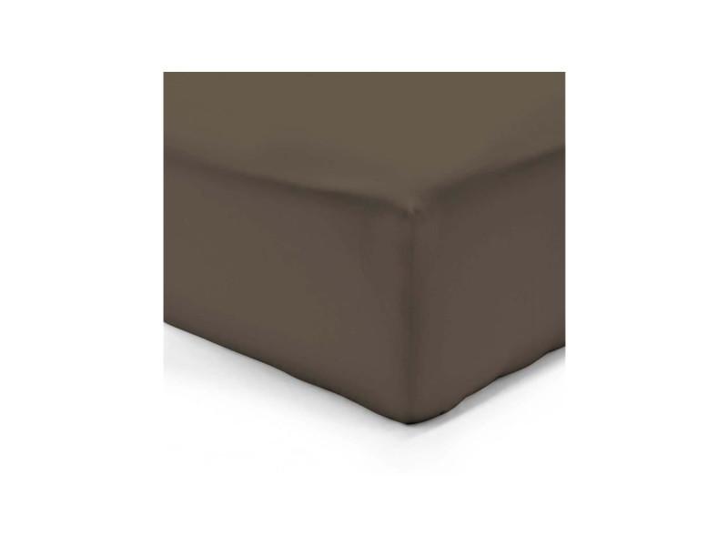 zzz 613063 Drap Housse Satin Chocolat 140 x 190 cm