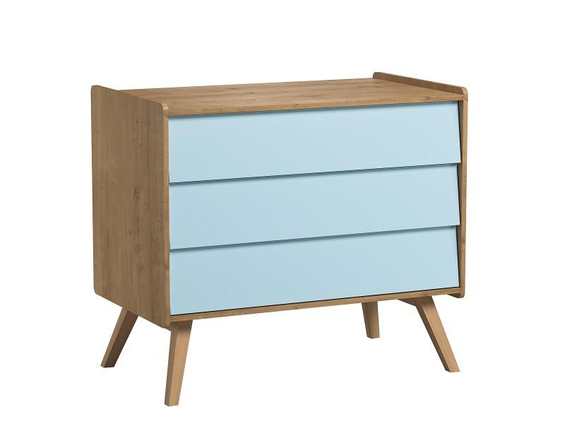 Commode à langer vintage - bois bleu