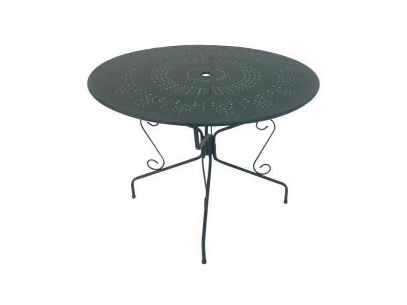 Chaise de jardin - fauteuil de jardin - tabouret de jardin table de jardin romantique en fer forgé avec trou central pour parasol - 95 cm - vert/gris
