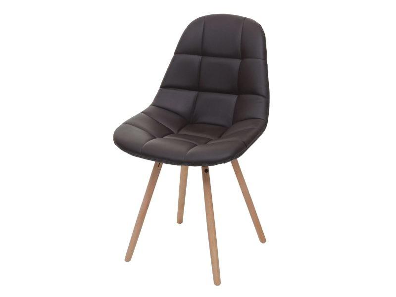Chaise de salle à manger hwc-a60 ii, chaise de cuisine, design rétro des années 50 ~ similicuir marron