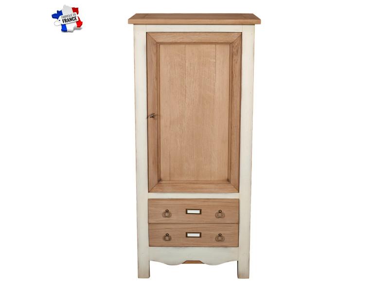 Bonnetière 2 tiroirs, chêne massif 62x40 cm, 100% fabrication française