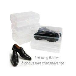 Boite a chaussures homme en plastique lot de 5