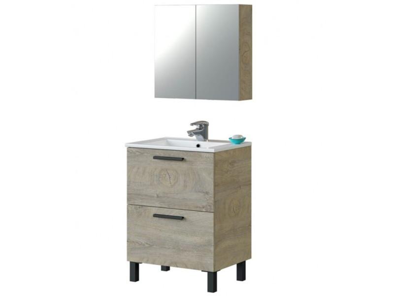 Meuble sous vasque de salle de bain 60 cm avec 2 tiroirs et piètement + miroir - hauteur 80 x longueur 60 x profondeur 45 cm