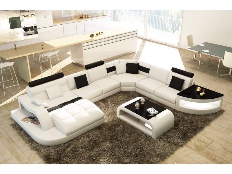 Canapé d'angle design panoramique blanc et noir istanbul (gauche)-