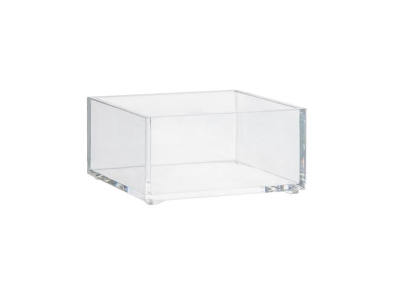 Plateau de rangement carré - 9,65 x 9,65 x 4,8 cm - polystyrène transparent