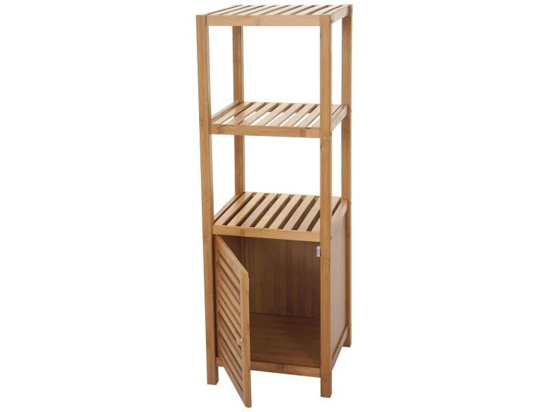 Étagère de Salle de Bain Bambou étagère Étagère Armoire Bambou 3 niveaux 80 x 33 x 35 cm