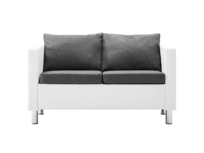 Vidaxl canapé à 2 places faux cuir blanc et gris clair 247171