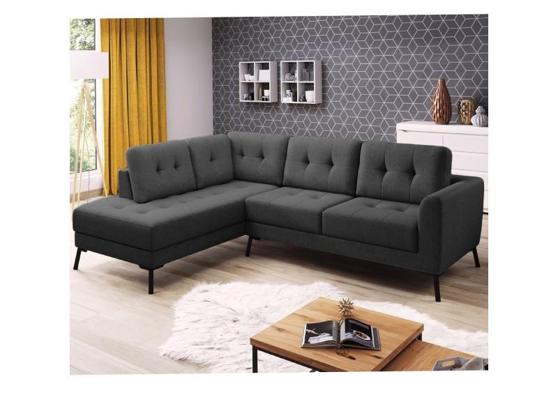 Canapé charm angle gauche tissu gris foncé