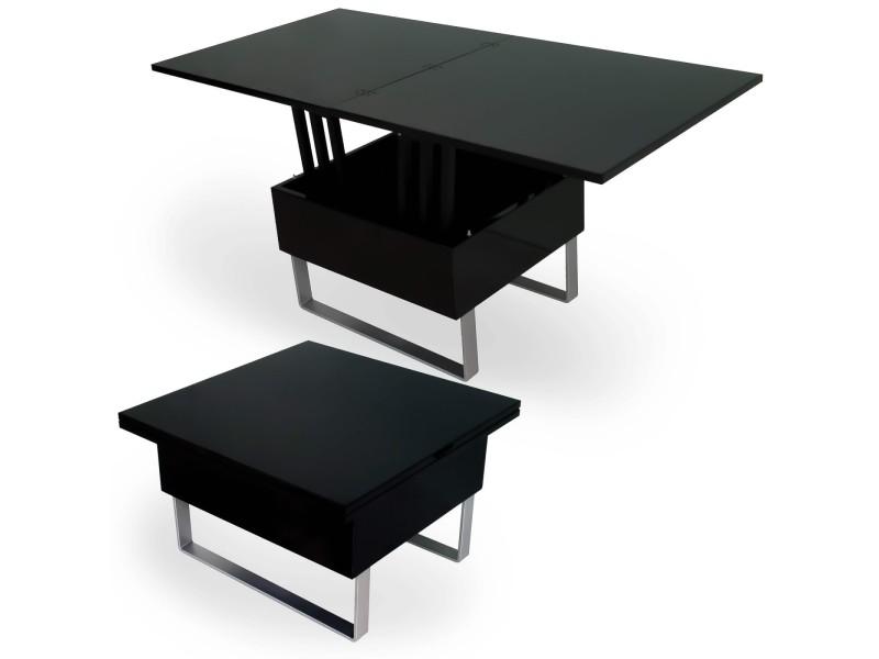 Zoe - table basse multifonction relevable laqué noir