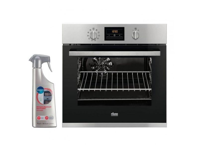 Four pyrolyse encastrable inox 53l multifonction chaleur brassée 7 modes de cuisson