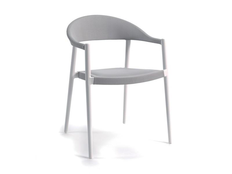 Chaise arhus en alu blanc et toile olefin gris clair