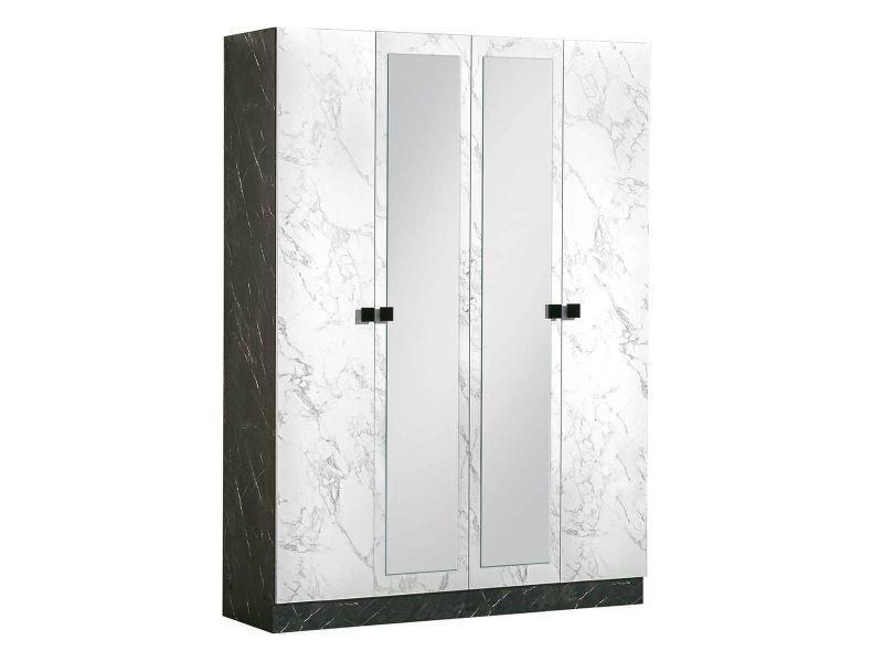 Rakham - armoire 4 portes avec miroir central