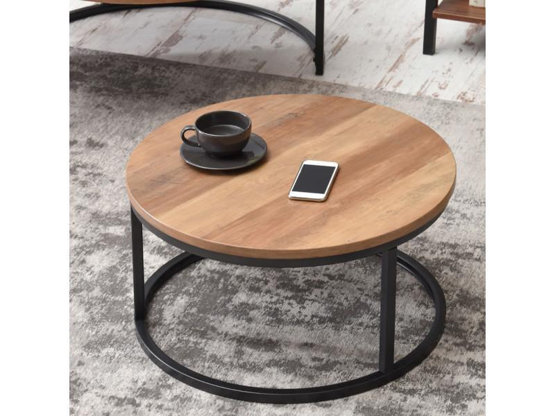 Table basse table de salon kodia effet noyer noir - Table basse ronde conforama ...
