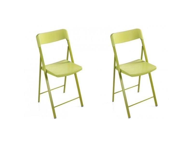 Lot de 2 chaises pliantes kully en plastique verte 20100847294