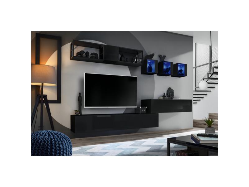 Ensemble meuble tv mural switch met iii - l 280 x p 40 x h 170 cm - noir