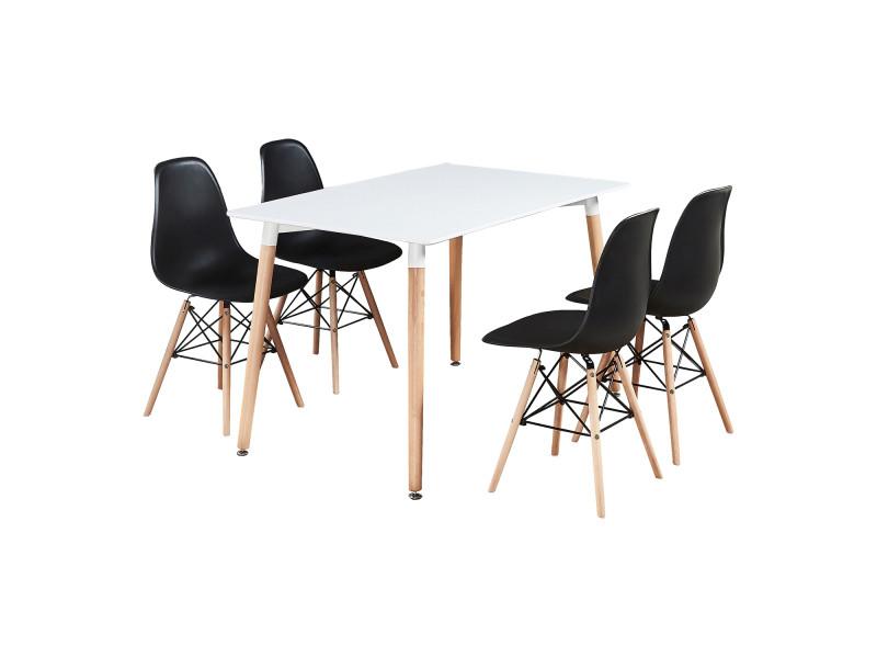 Table blanche et 4 chaises noires - design scandinave - moda eiffel halo