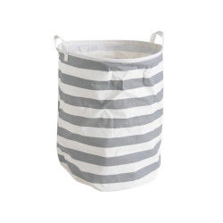 Panier à linge en polyester coloris gris et blanc, ø 40 h 50 cm -pegane-