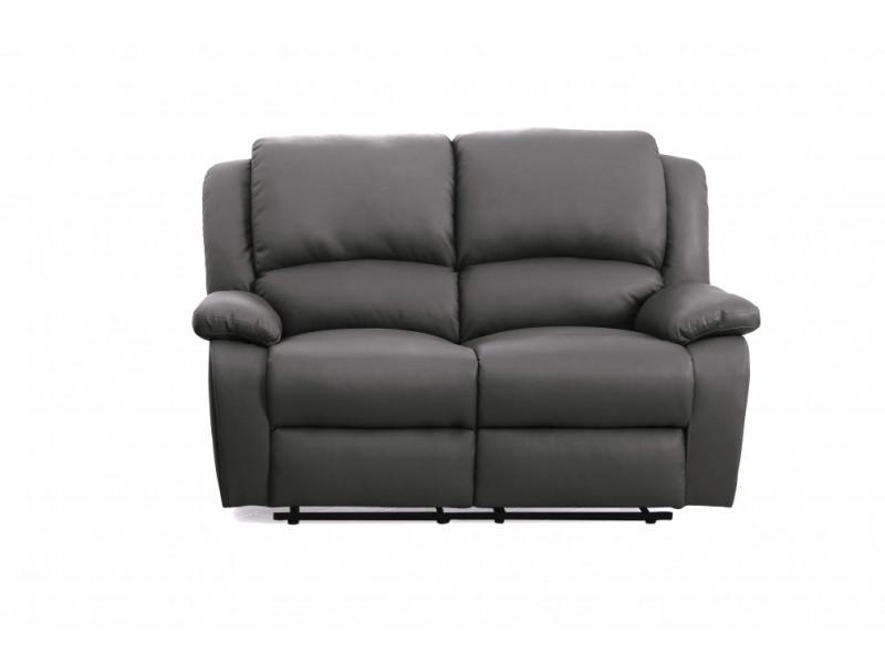 Canape Relaxation 2 Places Simili Cuir Detente Couleur Gris
