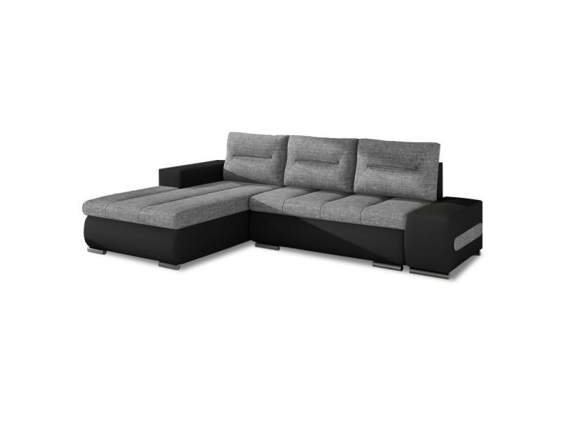 Canapé d'angle gauche convertible santiago gris et noir