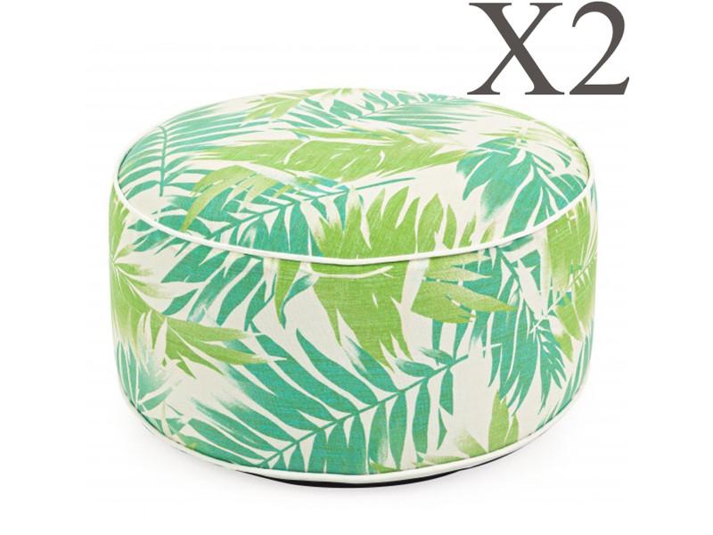Lot de 2 poufs d'extérieur gonflable multicolore tropique - dim : ø 53 x h 23 cm -pegane-