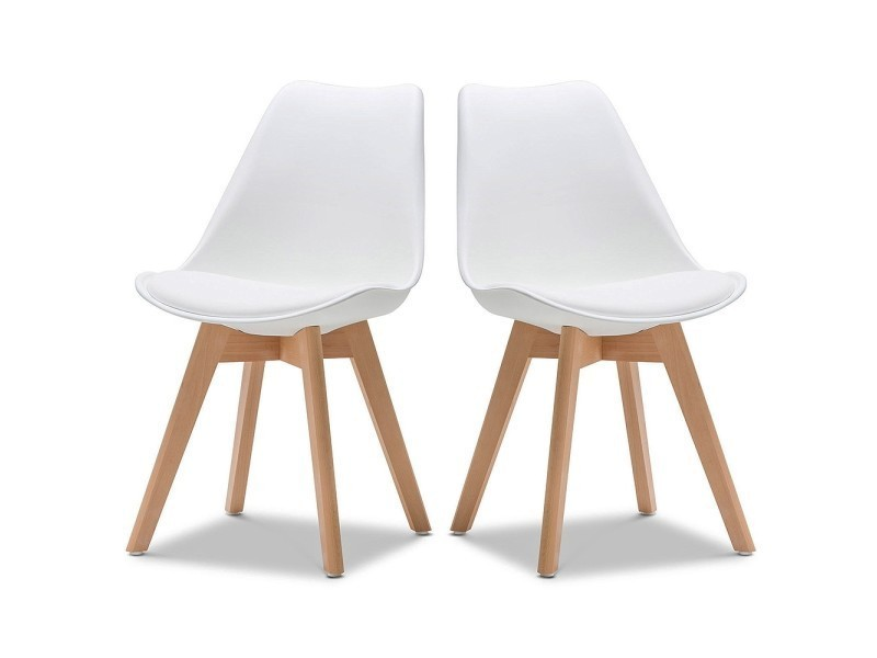 Chaise norvegia blanc pieds bois lot de 2 vente de ego for Chaise 2 pieds