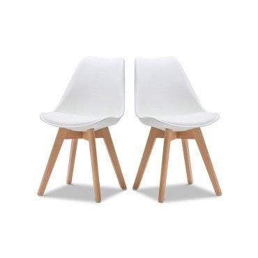 Chaise norvegia blanc pieds bois lot de 2 vente de ego for Chaise cuir blanc conforama