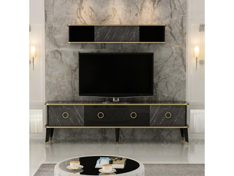 Homemania meuble tv bien avec portes, étagères - pour salon - noir, or en bois, 180 x 35 x 50 cm