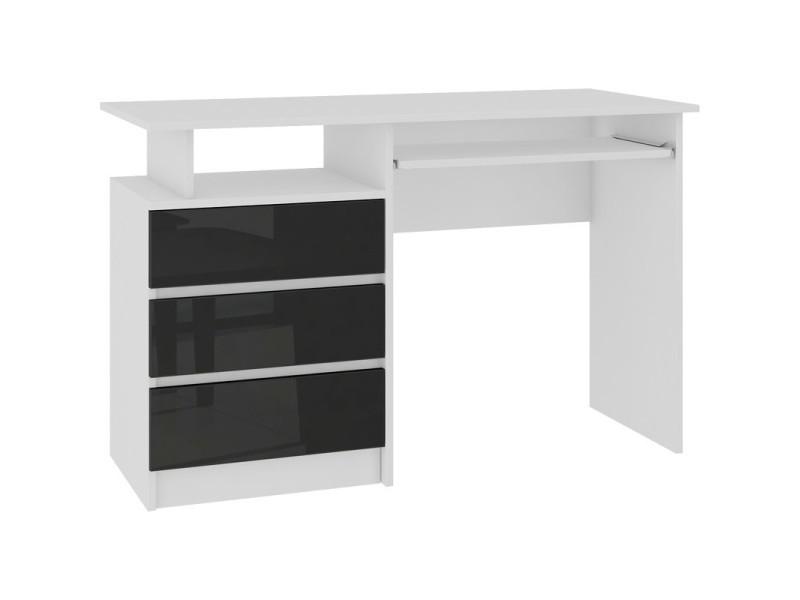 Toska - bureau informatique contemporain 135x77x60 cm - grand plateau 3 tiroirs niche de rangement - table ordinateur - blanc/noir laqué