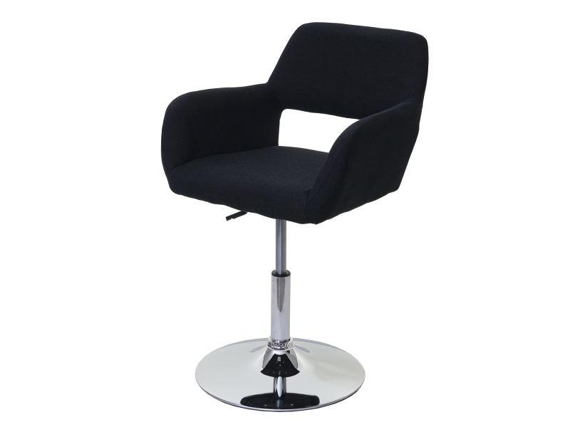 Chaise de salle à manger hwc-a50 iii, style rétro années 50, tissu ~ noir, pied en métal aspect chromé