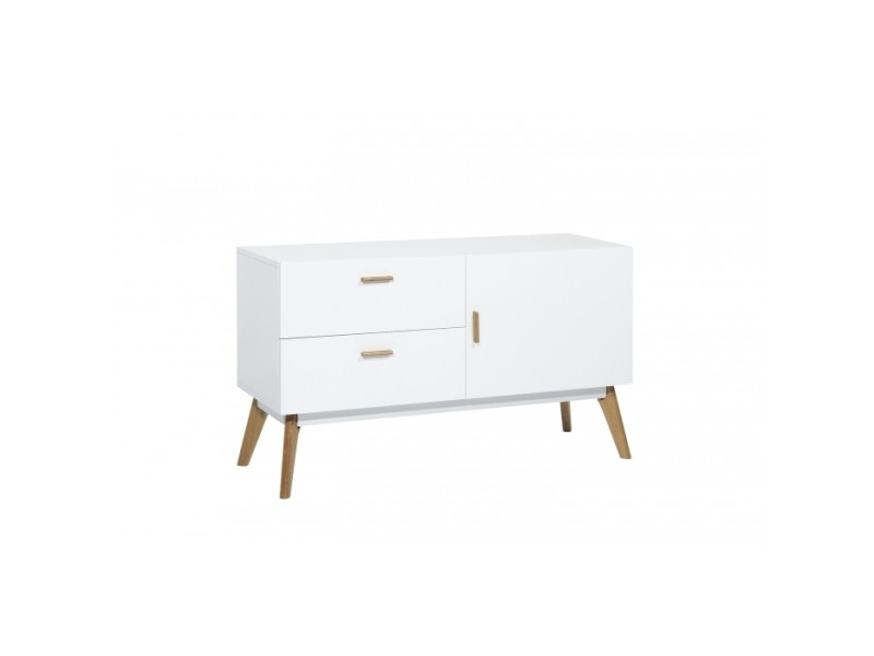 Buffet design blanc 120x40 compas 2tiroirs 1porte par zendart sélection