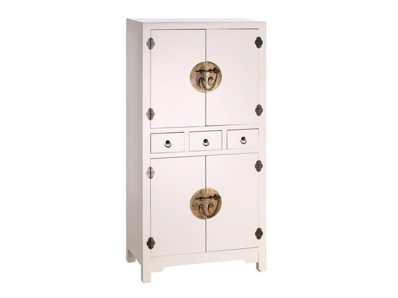 Armoire 4 portes 3 tiroirs blanc meuble chinois pekin for Meuble chinois blanc