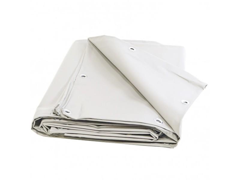 Bâche toiture 8 x 10 m blanche 680 g/m2 pvc haute qualité