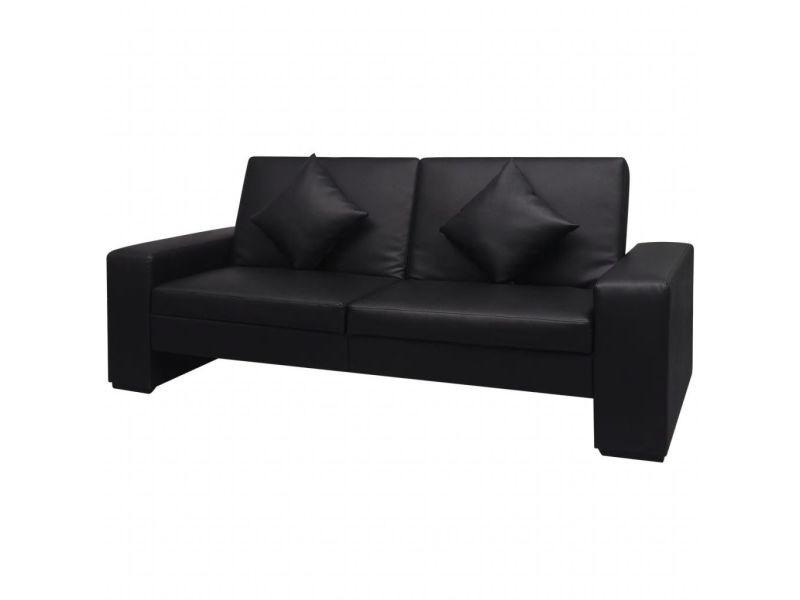 Vidaxl canapé-lit cuir artificiel noir 244306