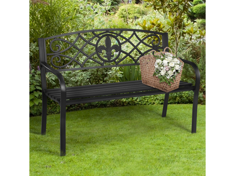 Giantex banc de jardin 3 places 128 x 60 x 89 cm acier pour parc véranda,terrasse, balcon charge max : 225 kg