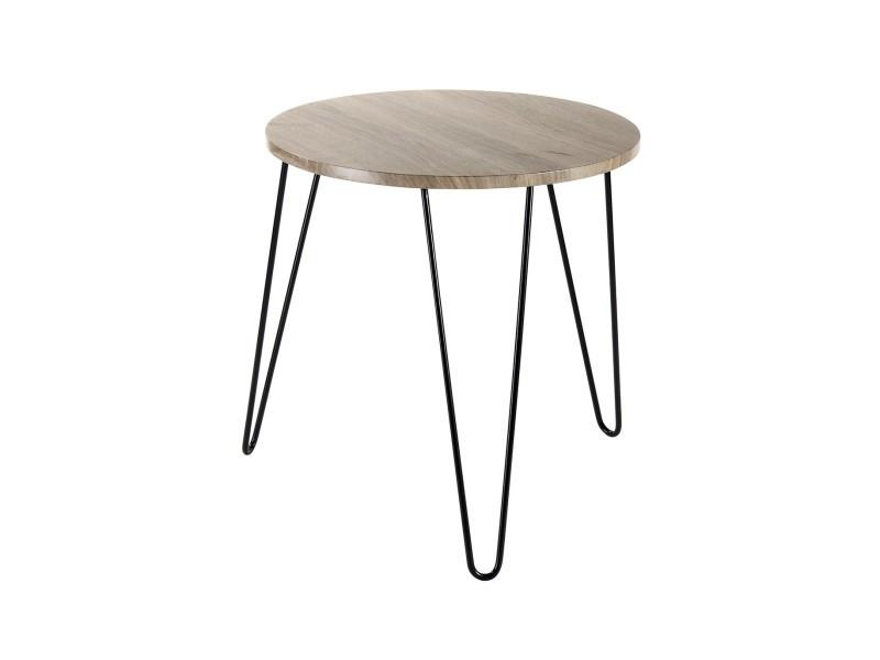 Table Basse Ronde En Bois Pieds Métal Vente De Casâme Conforama