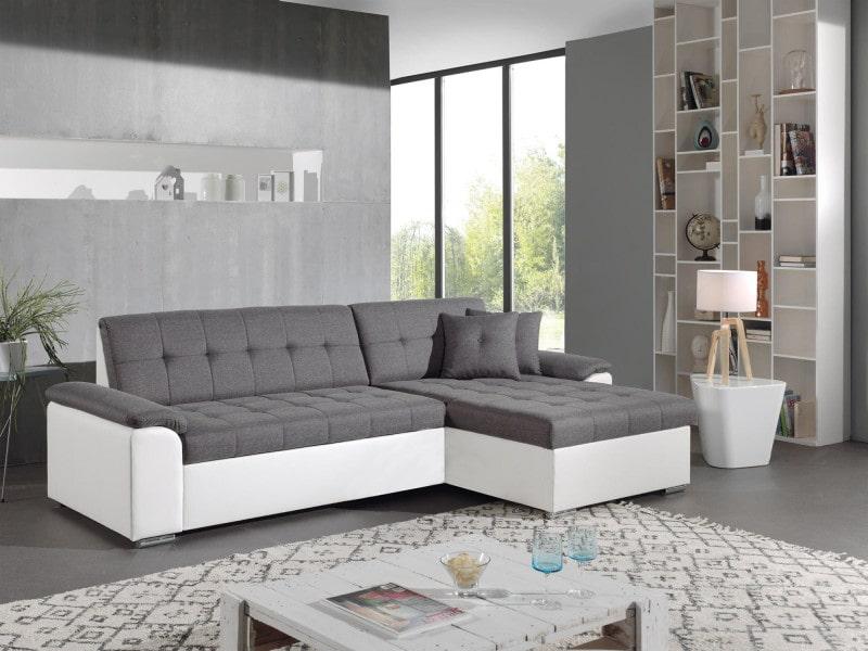 Hans - canapé d'angle réversible convertible - en tissu et simili - 4 places - avec coffre couleur - blanc / gris