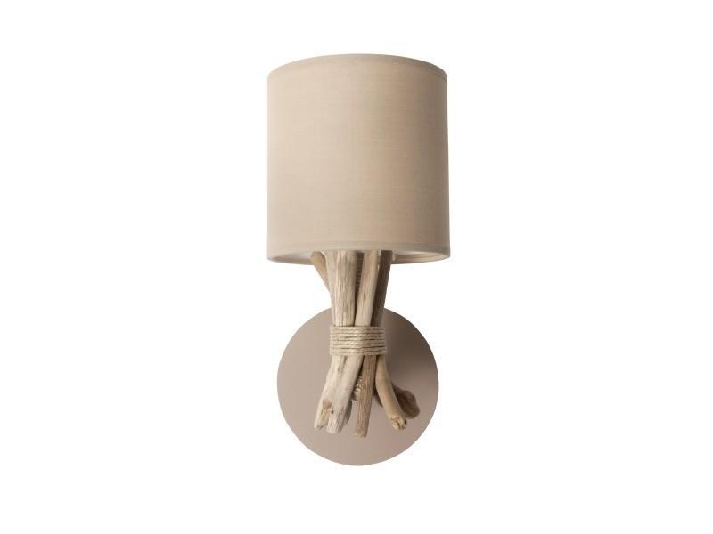 Lampe applique murale artisanale en bois flotté naturel - fabriquée à la main en france - couleur : cendre brune
