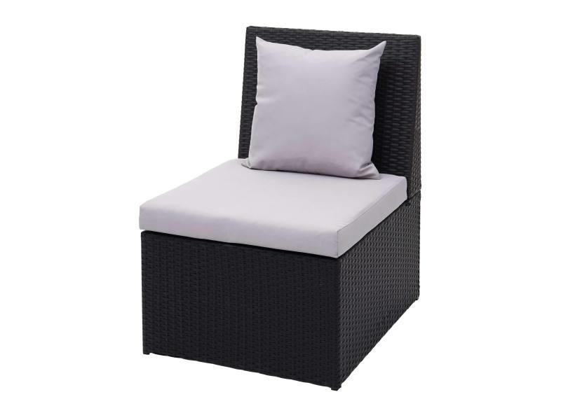 Fauteuil en polyrotin hwc-g16, chaise de jardin, gastronomie ~ noir, coussin gris clair