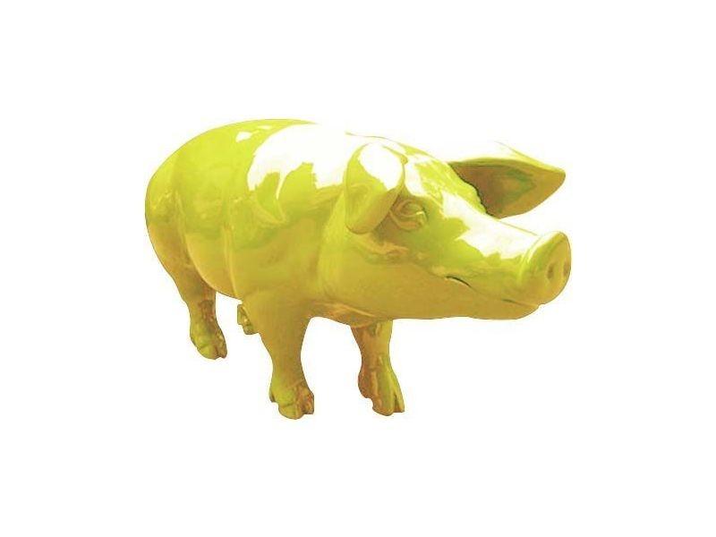Statue de jardin cochon coloré design en résine jaune clair