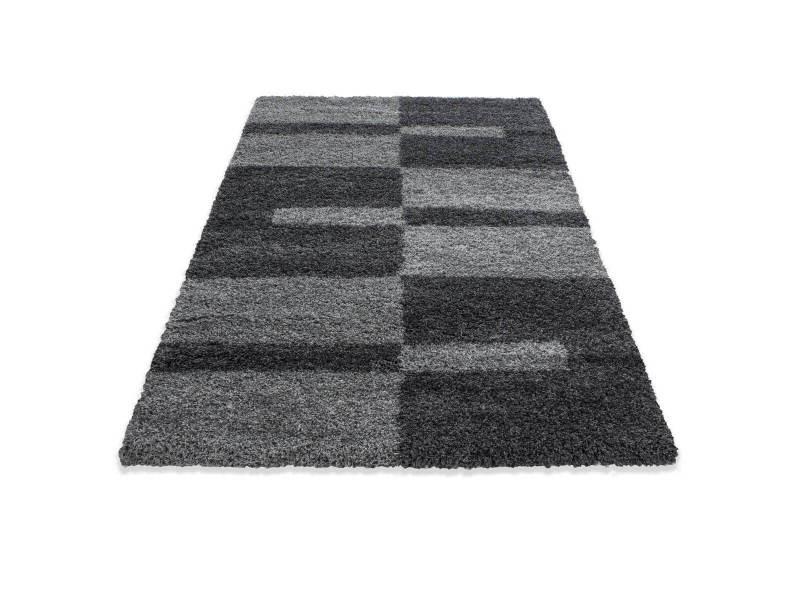 Bobochic tapis shaggy greta gris 160x230
