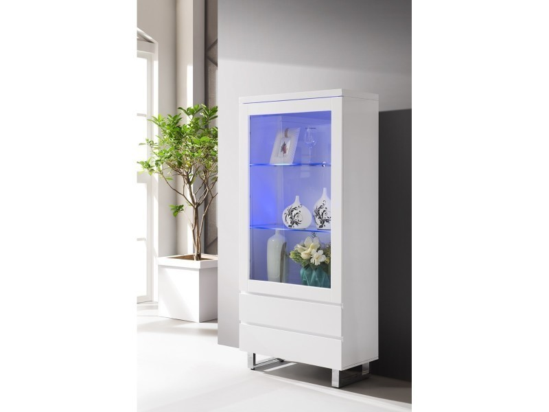 Interesting vitrine design laqu blanc led multicolore for Buffet blanc laque conforama